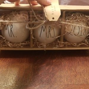 "Rae Dunn ""Mr. & Mrs."" Ornaments"